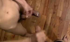 Emaciate redhead ladyboy with low hanging slaver tugs twosome cocks